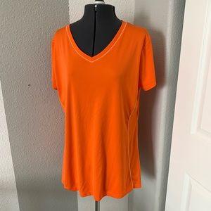 REI Orange sweatwicking exercise v neck shirt